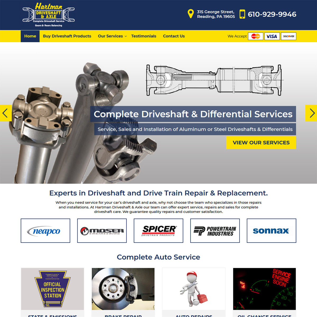 Hartman Driveshaft & Axle Website Design