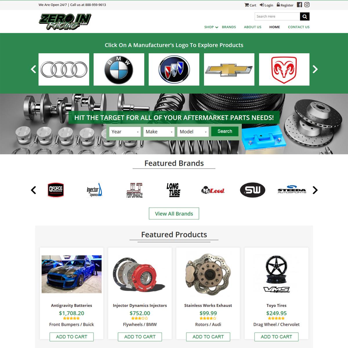 Zero In Racing Website Design