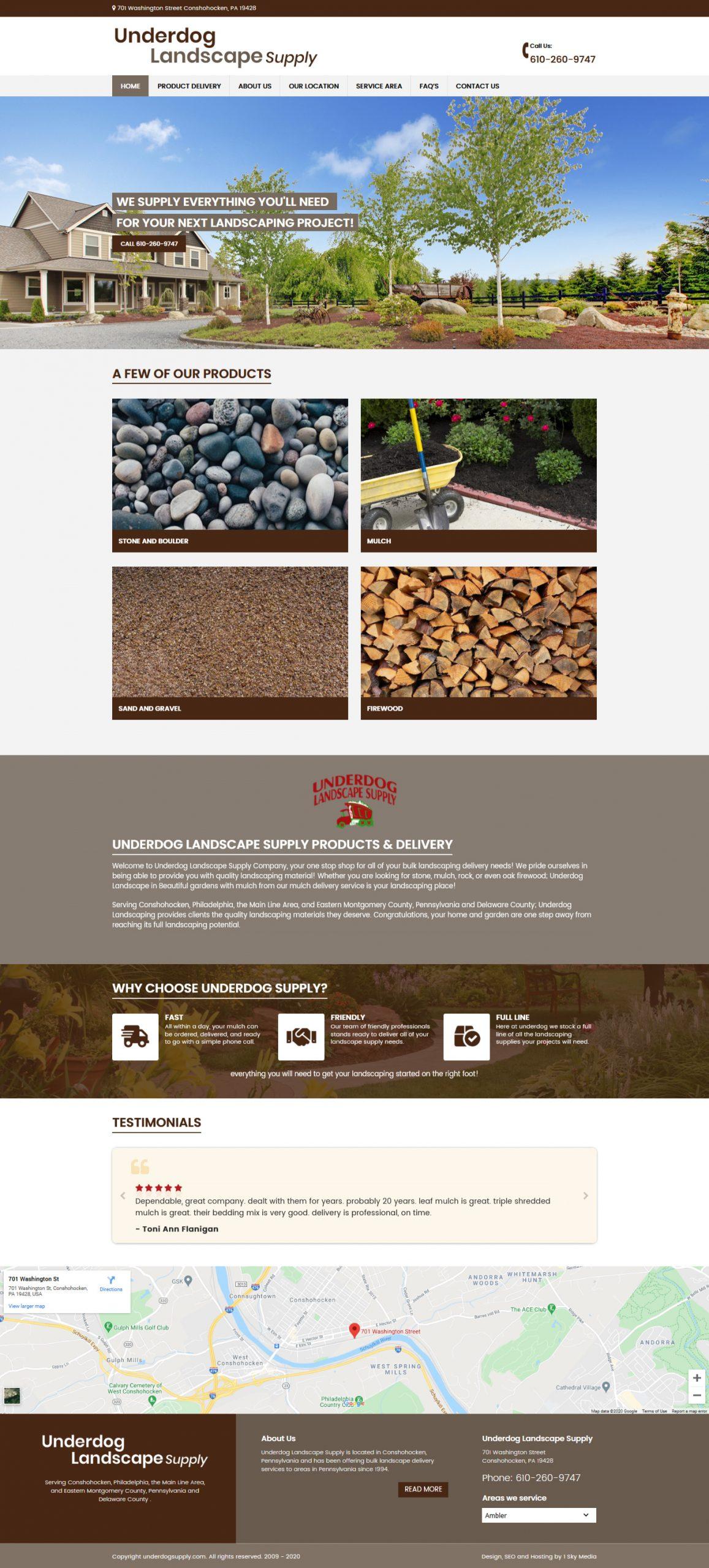 Underdog supply Landscape supply website design