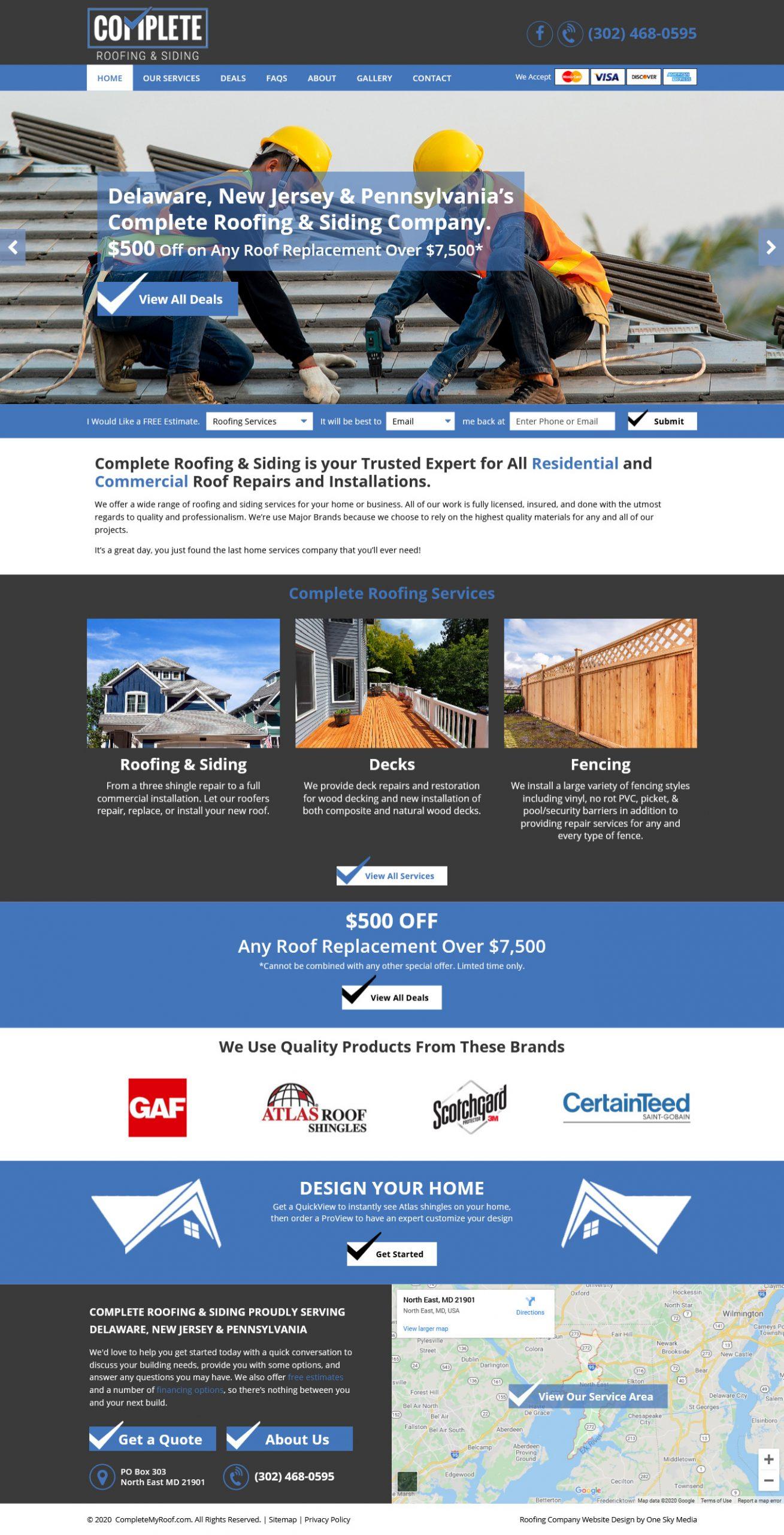 Complete Roofing & Siding Website Design