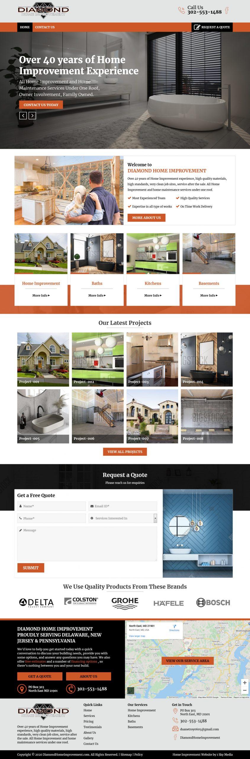 Diamond Home Improvement Website Design