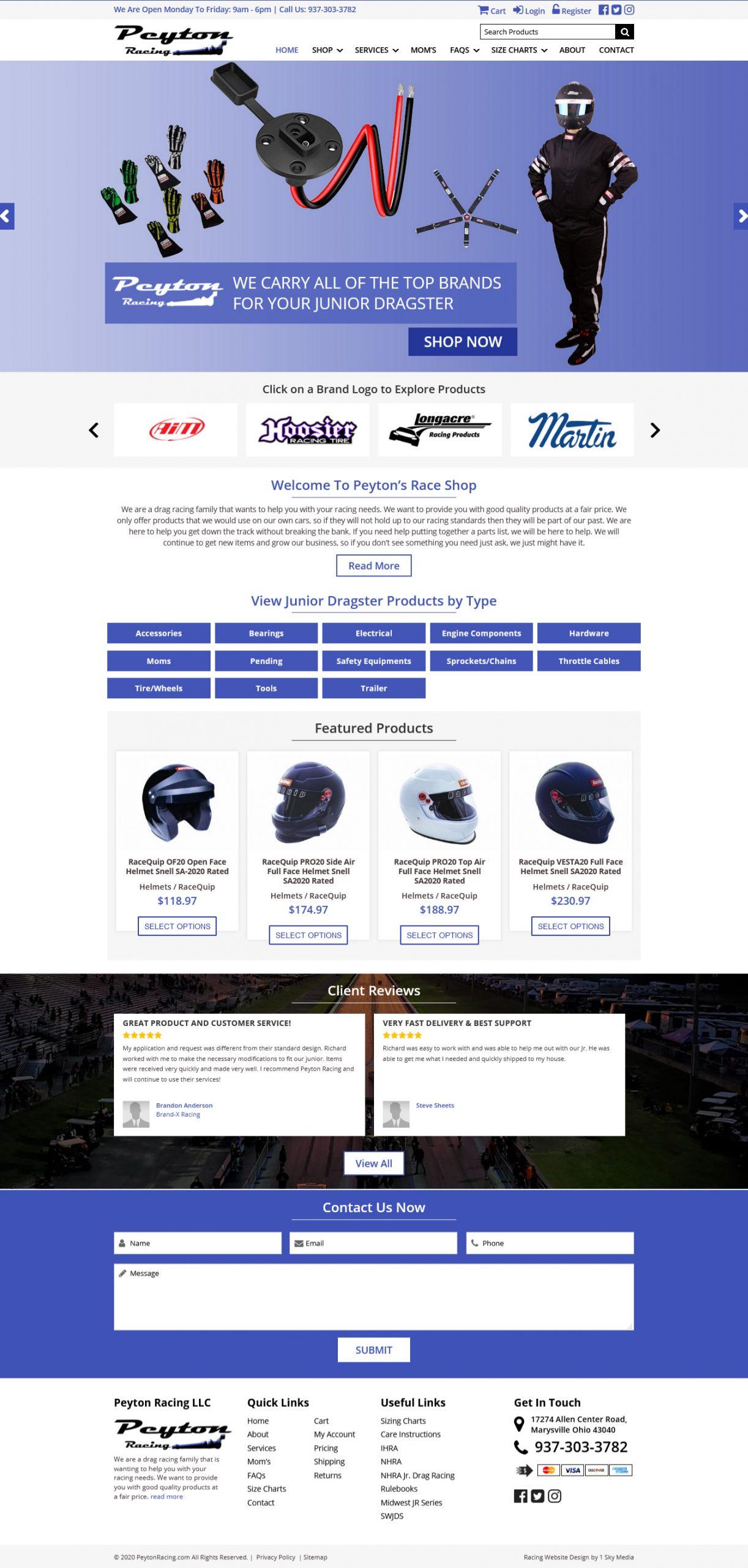 Peyton Racing Website Design