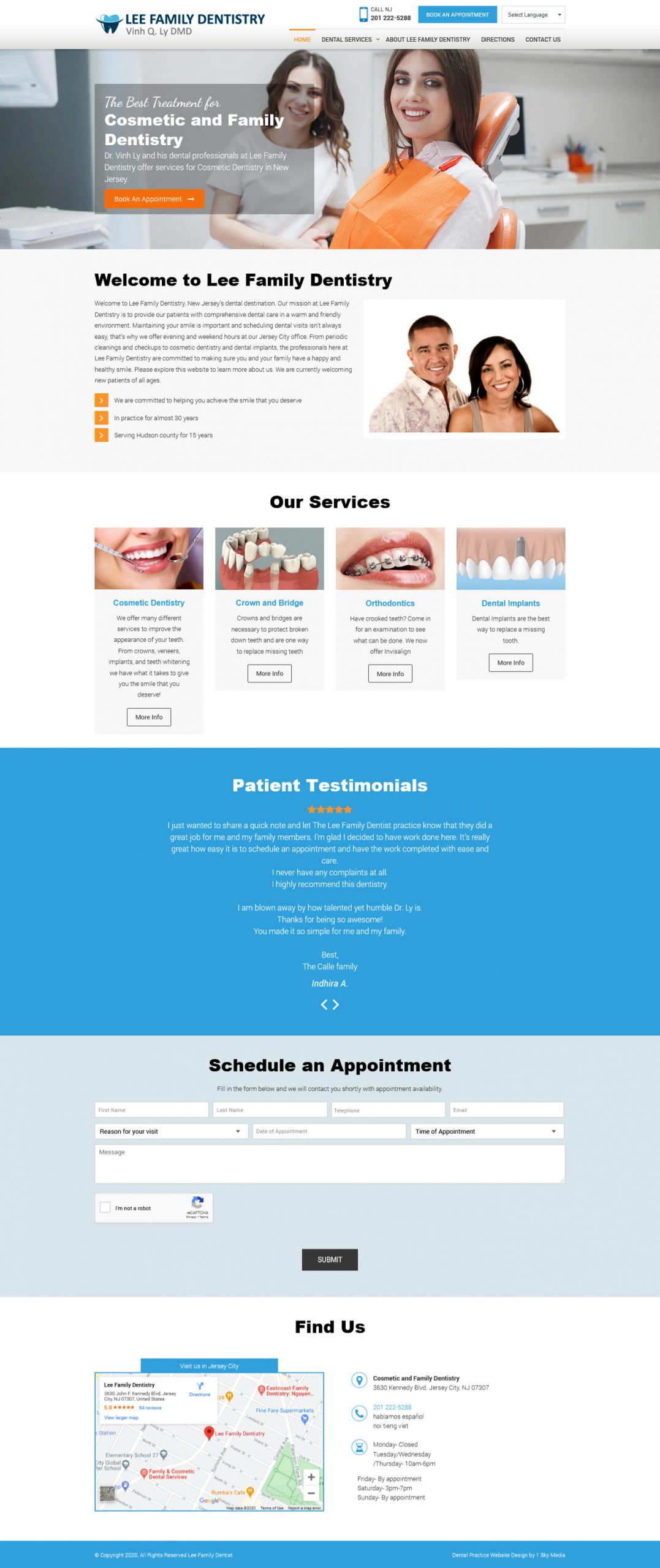 Lee Family Dentistry dentist website design