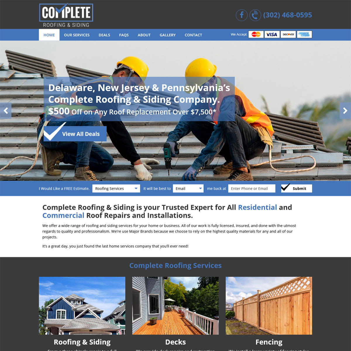 Complete Roofing & Siding Website Design
