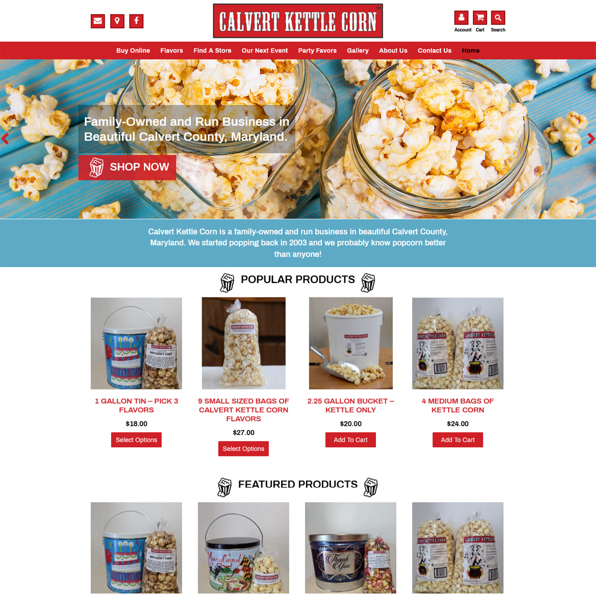 Calvert Kettle Corn Website Design