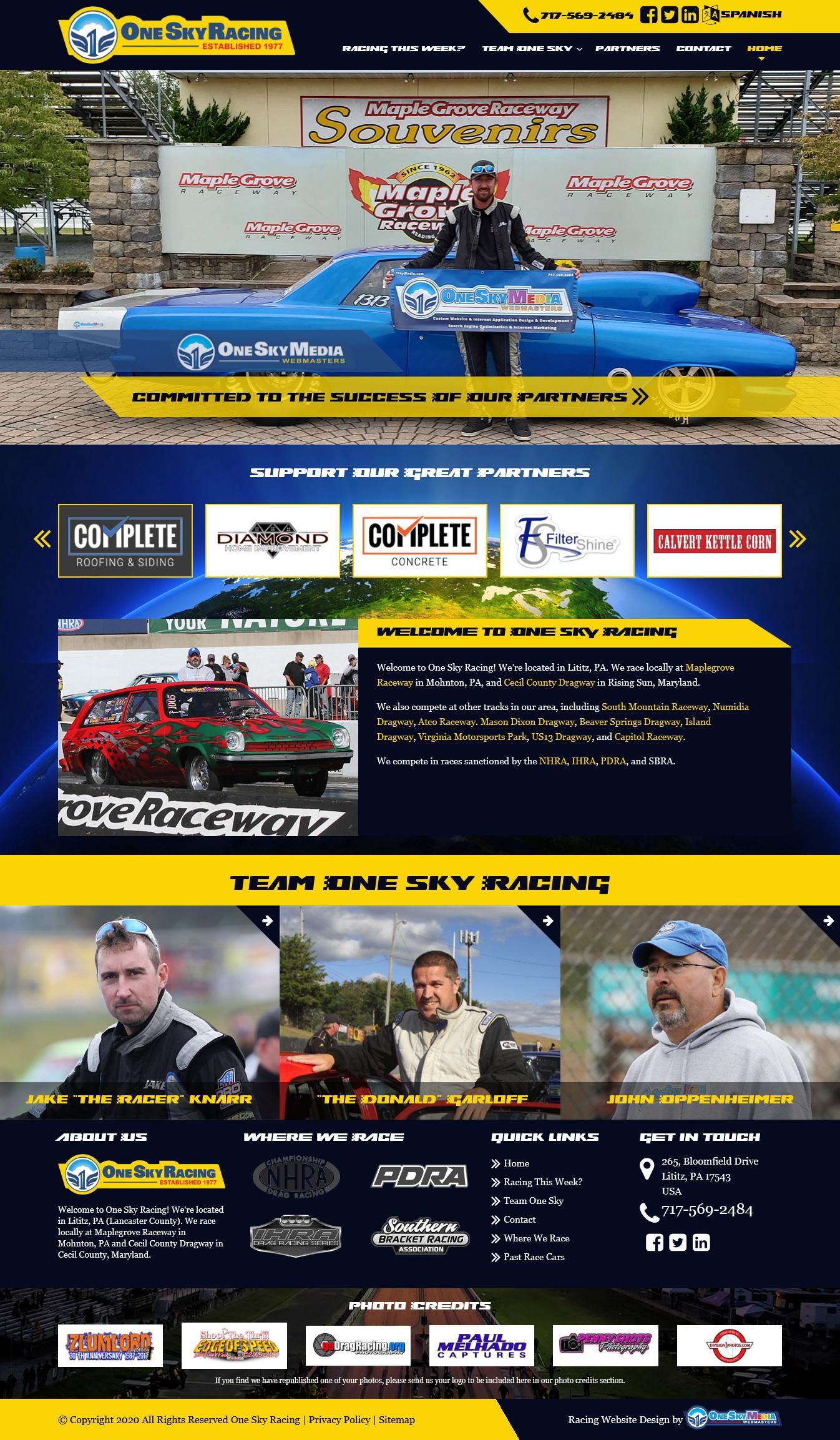 Drag Racing Team Website Design