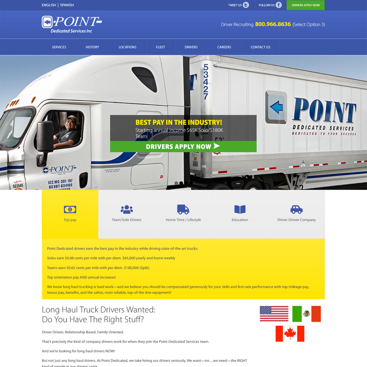 Point Dedicated Trucking - trucking company website design