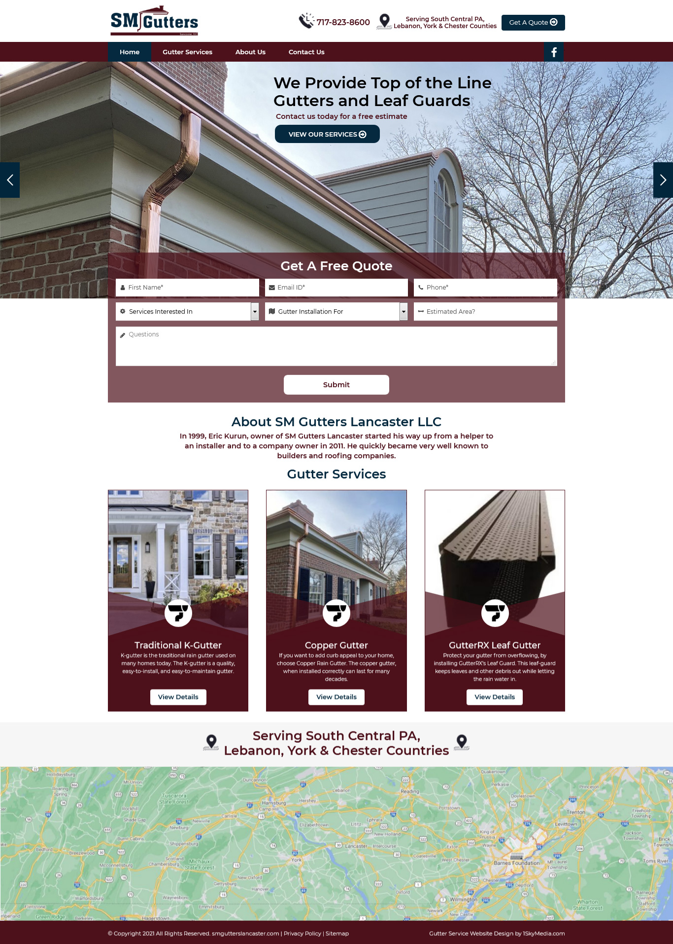 SM Gutters Lancaster Website Design