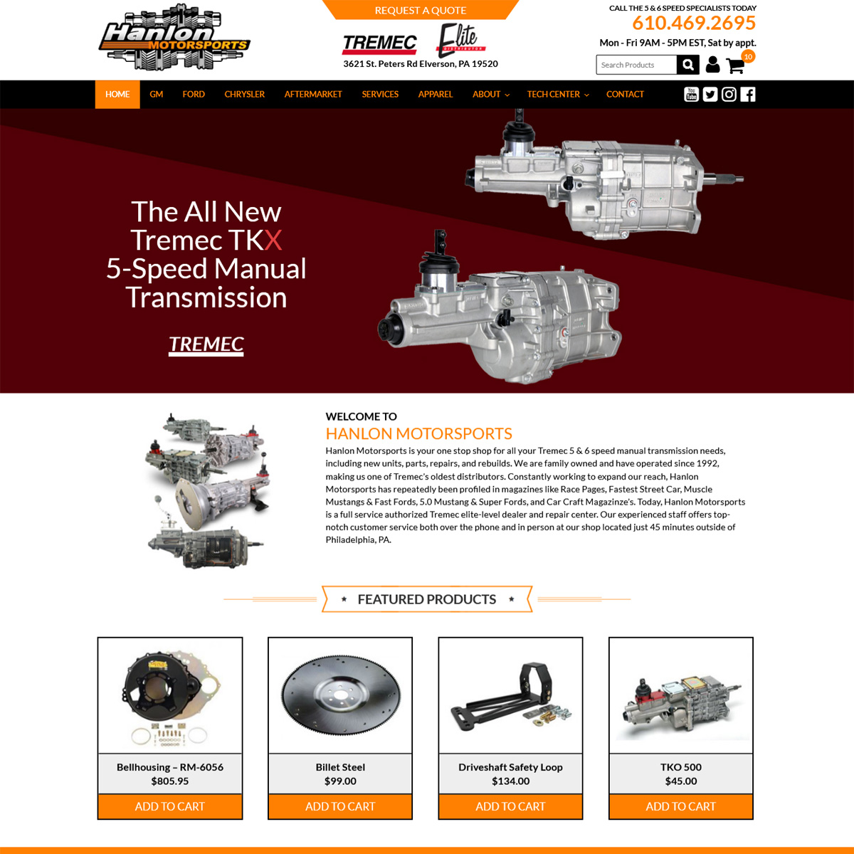 Hanlon Motorsports Website Design