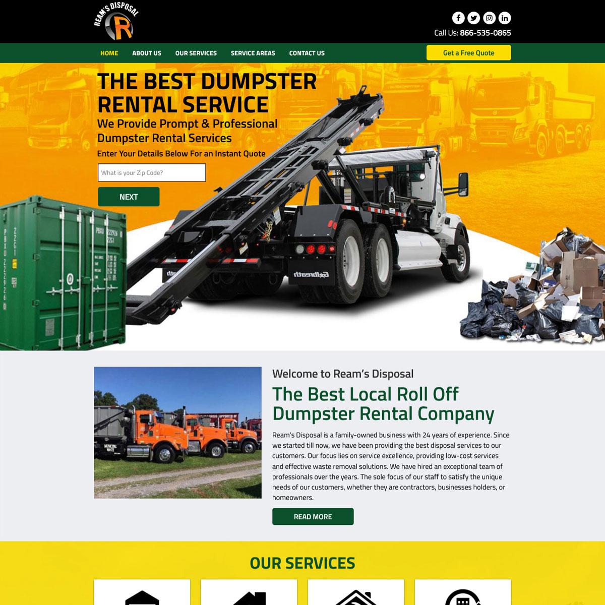 Reams Disposal – Brochure Site for AdWords Website Design