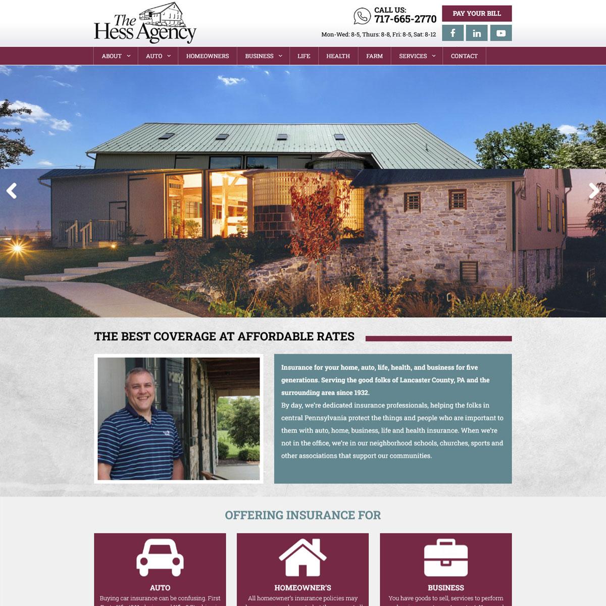 The Hess Insurance Agency WordPress Website Website Design